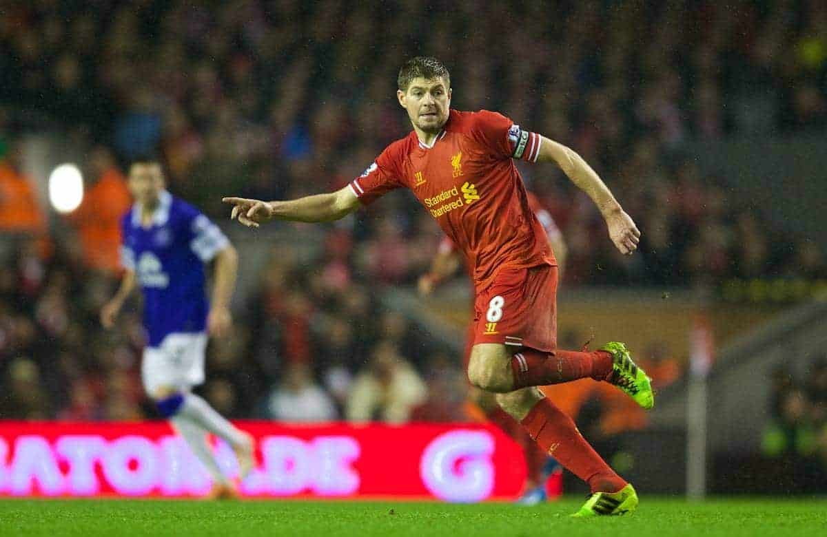 LIVERPOOL, ENGLAND - Tuesday, January 28, 2014: Liverpool's captain Steven Gerrard in action against Everton during the 222nd Merseyside Derby Premiership match at Anfield. (Pic by David Rawcliffe/Propaganda)