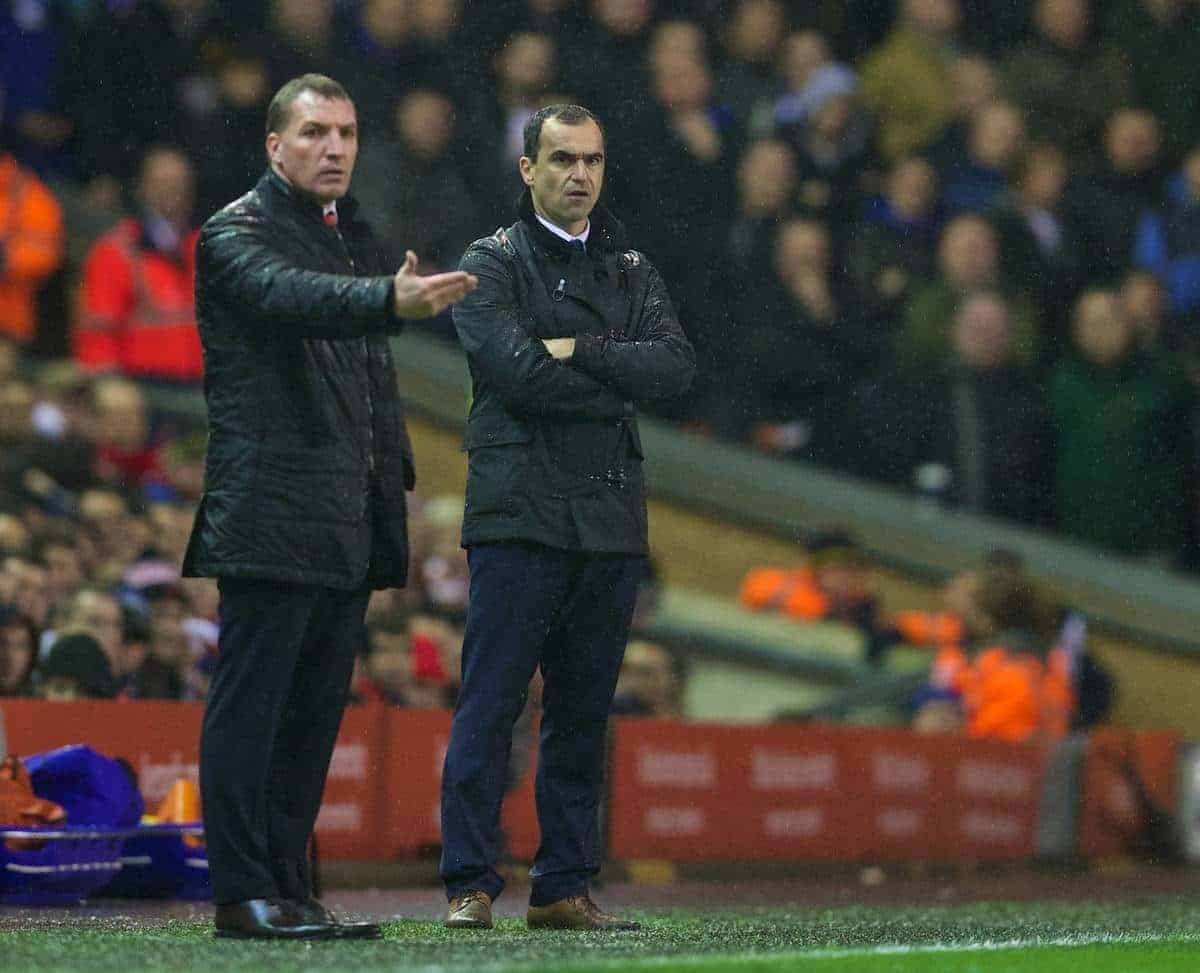 LIVERPOOL, ENGLAND - Tuesday, January 28, 2014: Liverpool's manager Brendan Rodgers and Everton's manager Roberto Martinez during the 222nd Merseyside Derby Premiership match at Anfield. (Pic by David Rawcliffe/Propaganda)