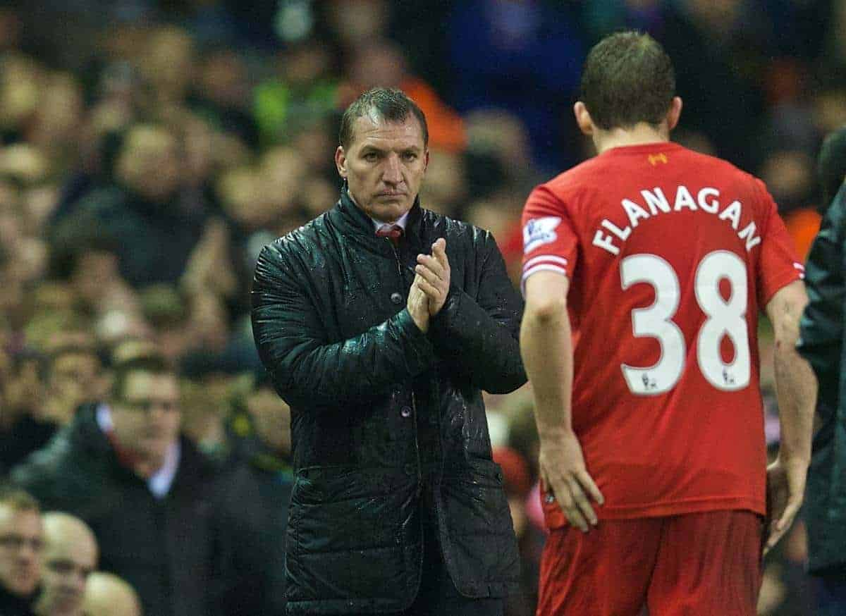 LIVERPOOL, ENGLAND - Tuesday, January 28, 2014: Liverpool's manager Brendan Rodgers substitutes Jon Flanagan during the 222nd Merseyside Derby Premiership match against Everton at Anfield. (Pic by David Rawcliffe/Propaganda)