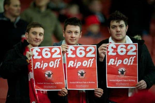LONDON, ENGLAND - Wednesday, January 30, 2013: Liverpool supporters protest against high ticket prices during the Premiership match against Arsenal at the Emirates Stadium. 'Football Without Fans Is Nothing' (Pic by David Rawcliffe/Propaganda)