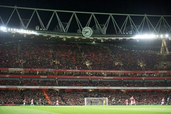 LONDON, ENGLAND - Wednesday, January 30, 2013: Empty seats as Arsenal take on Liverpool during the Premiership match at the Emirates Stadium. (Pic by David Rawcliffe/Propaganda)