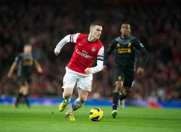 LONDON, ENGLAND - Wednesday, January 30, 2013: Arsenal's captain Thomas Vermaelen in action against Liverpool during the Premiership match at the Emirates Stadium. (Pic by David Rawcliffe/Propaganda)