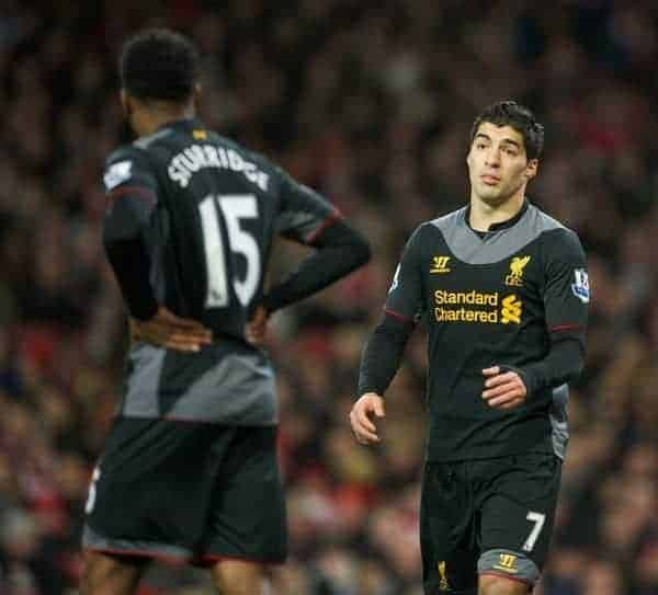 LONDON, ENGLAND - Wednesday, January 30, 2013: Liverpool's Luis Alberto Suarez Diaz and Daniel Sturridge during the Premiership match against Arsenal at the Emirates Stadium. (Pic by David Rawcliffe/Propaganda)
