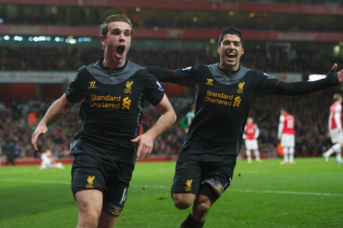 LONDON, ENGLAND - Wednesday, January 30, 2013: Liverpool's Jordan Henderson celebrates scoring the second goal against Arsenal with team-mate Luis Alberto Suarez Diaz during the Premiership match at the Emirates Stadium. (Pic by David Rawcliffe/Propaganda)