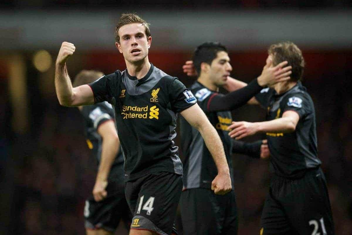 LONDON, ENGLAND - Wednesday, January 30, 2013: Liverpool's Jordan Henderson celebrates scoring the second goal against Arsenal during the Premiership match at the Emirates Stadium. (Pic by David Rawcliffe/Propaganda)