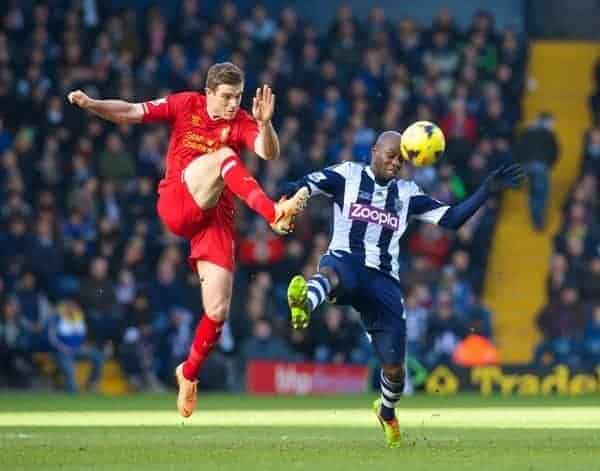 WEST BROMWICH, ENGLAND - Sunday, February 2, 2014: Liverpool's Jordan Henderson in action against West Bromwich Albion during the Premiership match at the Hawthorns. (Pic by David Rawcliffe/Propaganda)