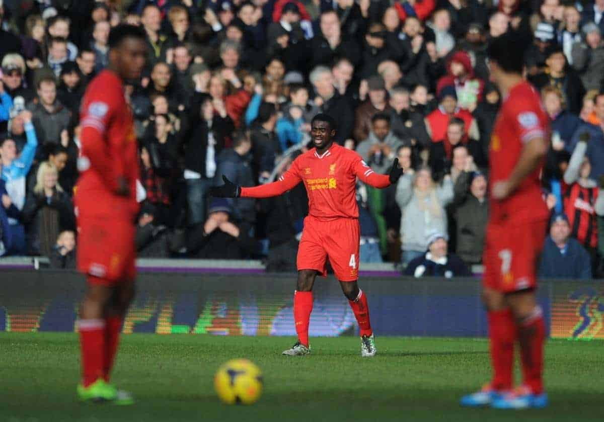 WEST BROMWICH, ENGLAND - Sunday, February 2, 2014: Liverpool's Kolo Toure looks dejected after his error handed West Bromwich Albion a late equalising goal during the Premiership match at the Hawthorns. (Pic by Chris Brunskill/Propaganda)