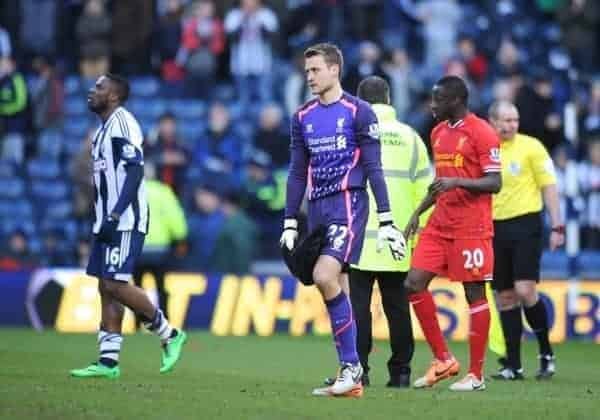WEST BROMWICH, ENGLAND - Sunday, February 2, 2014: Liverpool's goalkeeper Simon Mignolet looks dejected as his side draw 1-1 with West Bromwich Albion during the Premiership match at the Hawthorns. (Pic by Chris Brunskill/Propaganda)