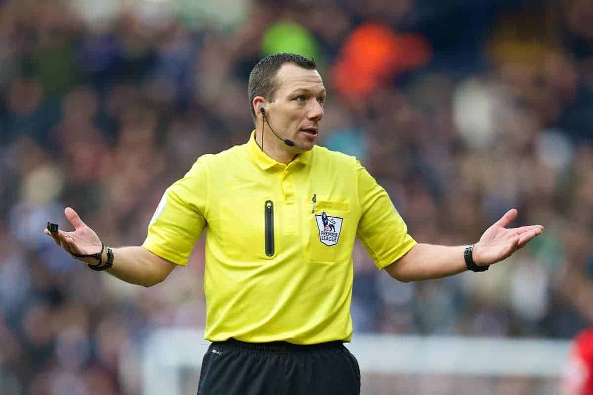 WEST BROMWICH, ENGLAND - Sunday, February 2, 2014: Referee Kevin Friend during the Premiership match between Liverpool and West Bromwich Albion at the Hawthorns. (Pic by David Rawcliffe/Propaganda)