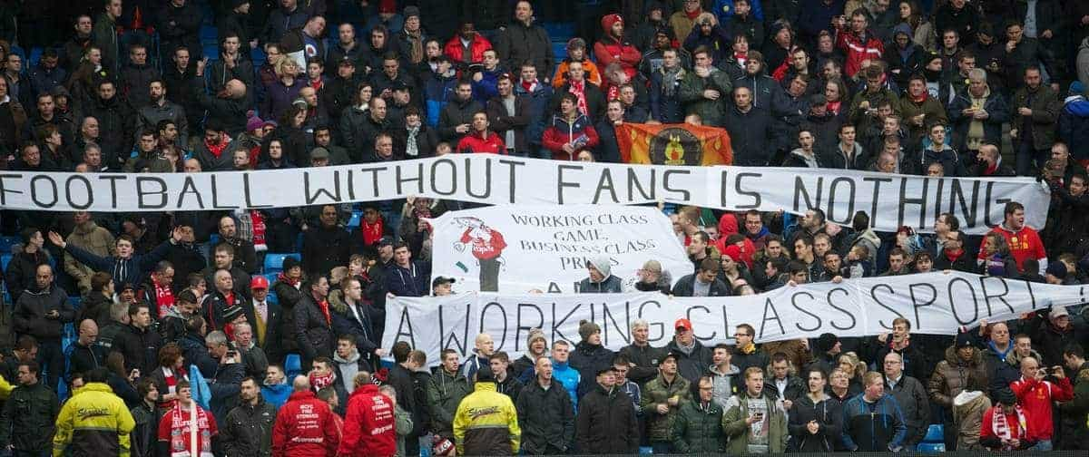 MANCHESTER, ENGLAND - Sunday, February 3, 2013: Liverpool fans protest against high ticket prices with banners 'A Working Class Sport?', 'Football Without Fans Is Nothing' during the Premiership match against Manchester City at the City of Manchester Stadium. (Pic by David Rawcliffe/Propaganda)