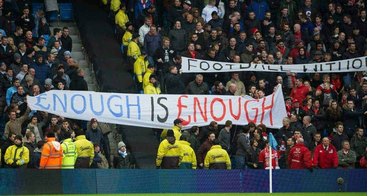 MANCHESTER, ENGLAND - Sunday, February 3, 2013: Liverpool fans protest against high ticket prices with a banner '£nough is £nough [Enough is Enough]' during the Premiership match against Manchester City at the City of Manchester Stadium. (Pic by David Rawcliffe/Propaganda)