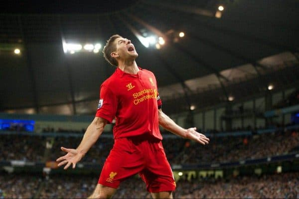 Liverpool's captain Steven Gerrard celebrates scoring the second goal against Manchester City during the Premiership match at the City of Manchester Stadium. (Pic by David Rawcliffe/Propaganda)
