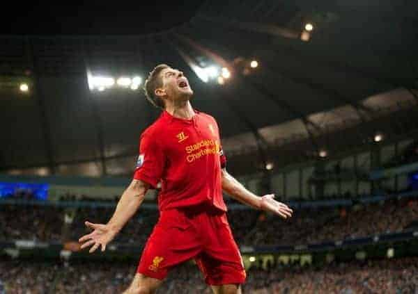 MANCHESTER, ENGLAND - Sunday, February 3, 2013: Liverpool's captain Steven Gerrard celebrates scoring the second goal against Manchester City during the Premiership match at the City of Manchester Stadium. (Pic by David Rawcliffe/Propaganda)