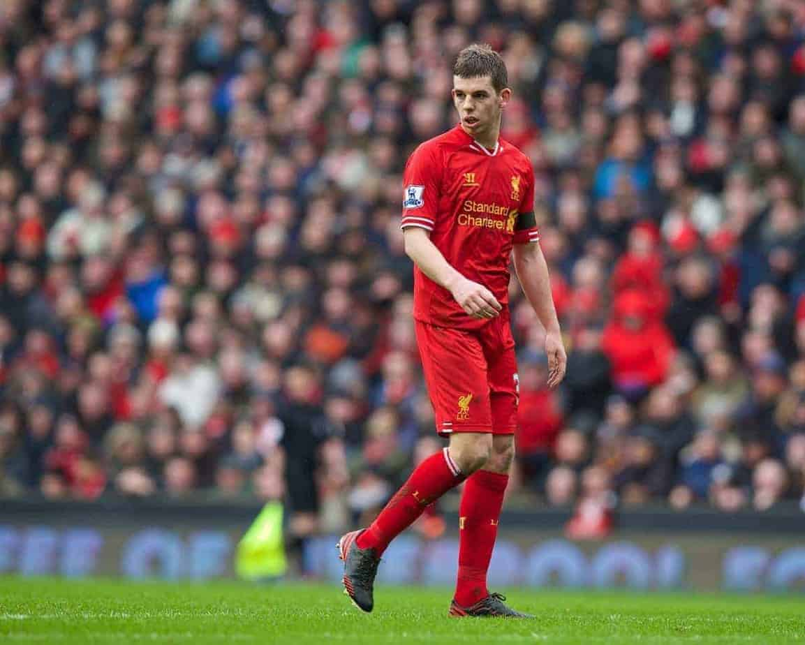 LIVERPOOL, ENGLAND - Saturday, February 8, 2014: Liverpool's Jon Flanagan in action against Arsenal during the Premiership match at Anfield. (Pic by David Rawcliffe/Propaganda)