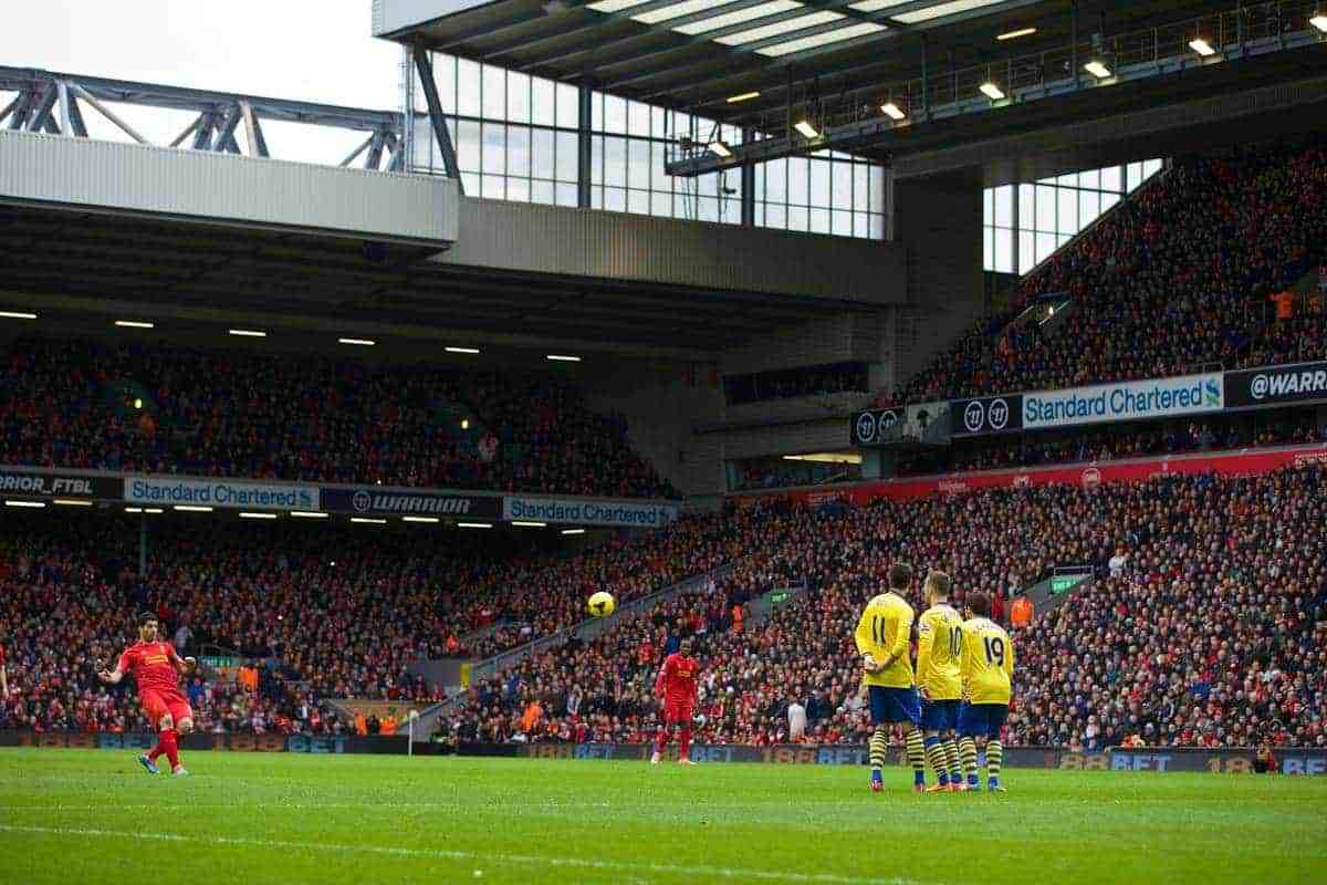 LIVERPOOL, ENGLAND - Saturday, February 8, 2014: Liverpool's Luis Suarez takes a free-kick against Arsenal during the Premiership match at Anfield. (Pic by David Rawcliffe/Propaganda)