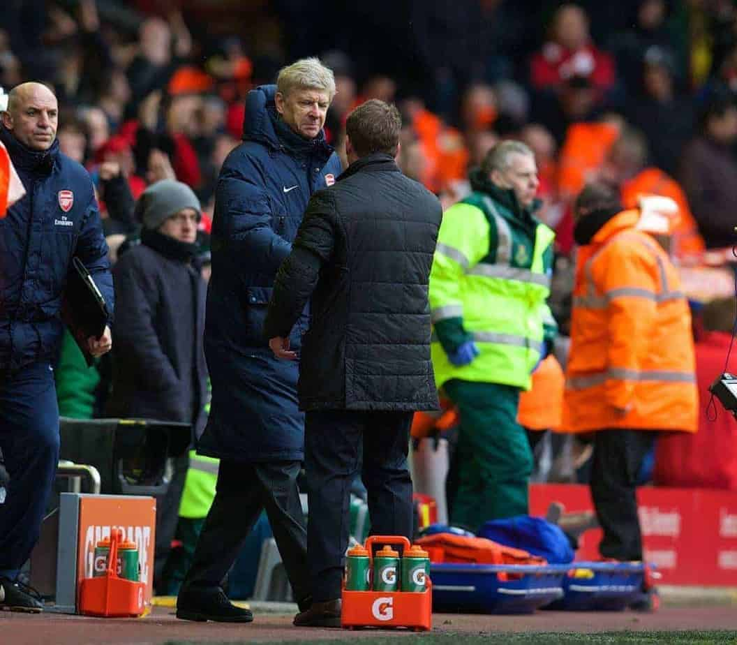 LIVERPOOL, ENGLAND - Saturday, February 8, 2014: Arsenal's manager Arsene Wenger shakes hands with Liverpool's manager Brendan Rodgers after his side are thrashed 5-1 during the Premiership match at Anfield. (Pic by David Rawcliffe/Propaganda)