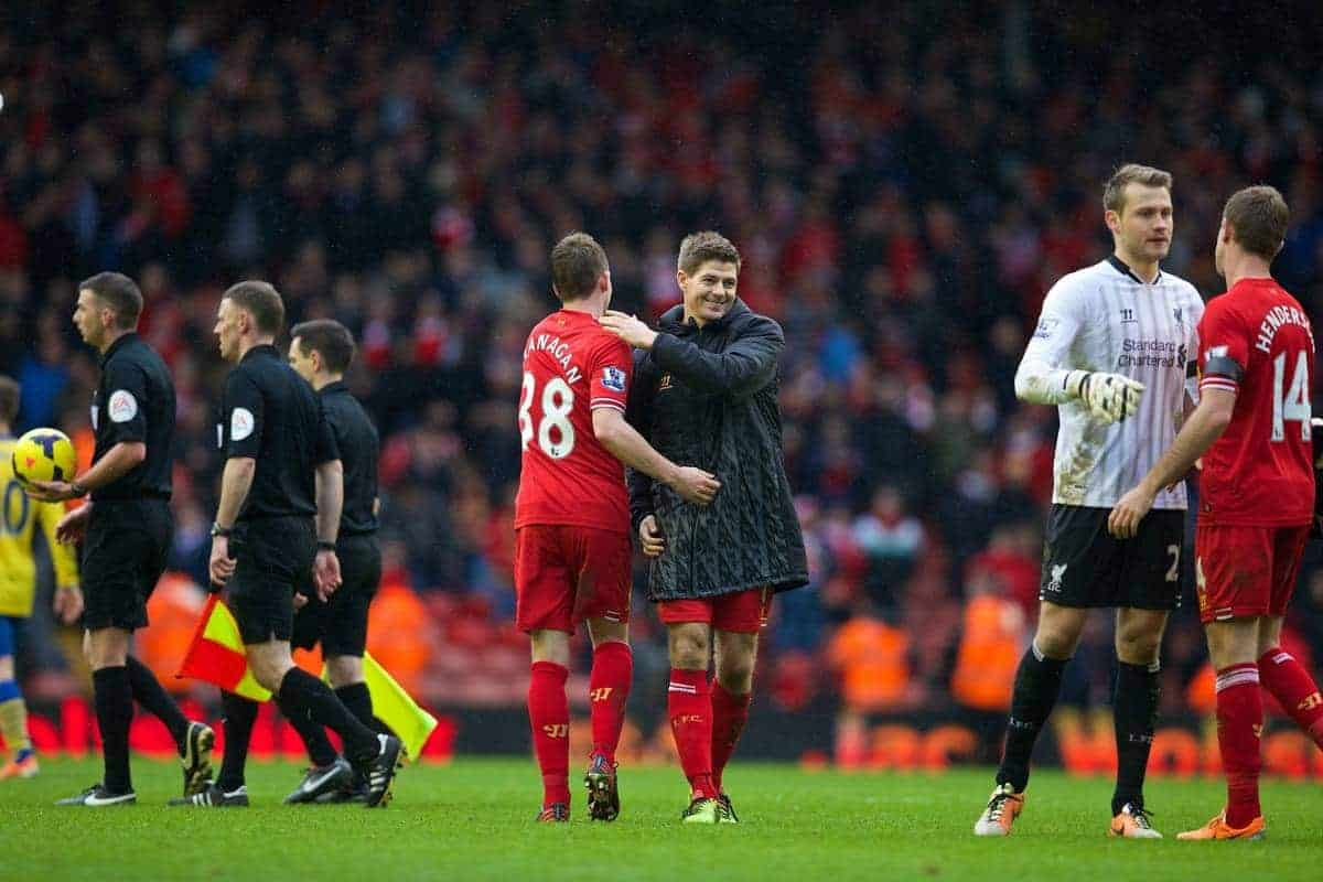 LIVERPOOL, ENGLAND - Saturday, February 8, 2014: Liverpool's captain Steven Gerrard and Jon Flanagan after the 5-1 victory over Arsenal during the Premiership match at Anfield. (Pic by David Rawcliffe/Propaganda)