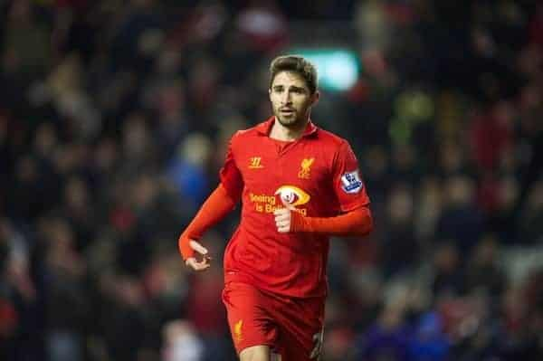 LIVERPOOL, ENGLAND - Monday, February 11, 2013: Liverpool's Fabio Borini in action against West Bromwich Albion during the Premiership match at Anfield. (Pic by David Rawcliffe/Propaganda)