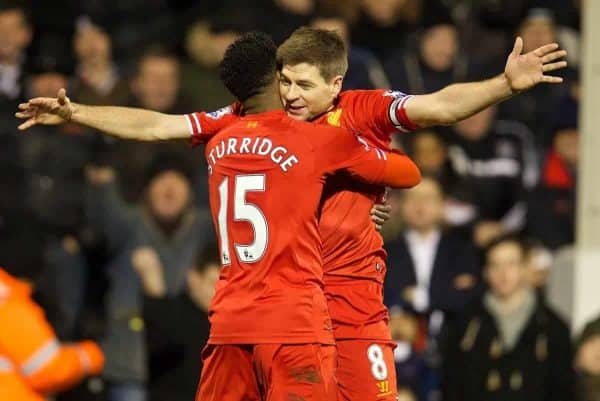 LONDON, ENGLAND - Wednesday, February 12, 2014: Liverpool's Daniel Sturridge celebrates scoring the first goal against Fulham with team-mate captain Steven Gerrard during the Premiership match at Craven Cottage. (Pic by David Rawcliffe/Propaganda)
