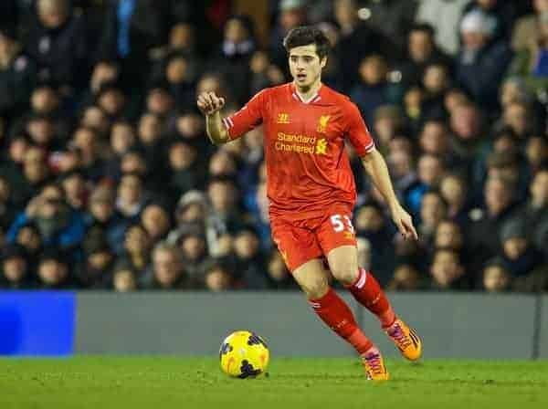 LONDON, ENGLAND - Wednesday, February 12, 2014: Liverpool's Joao Carlos Teixeira in action against Fulham during the Premiership match at Craven Cottage. (Pic by David Rawcliffe/Propaganda)