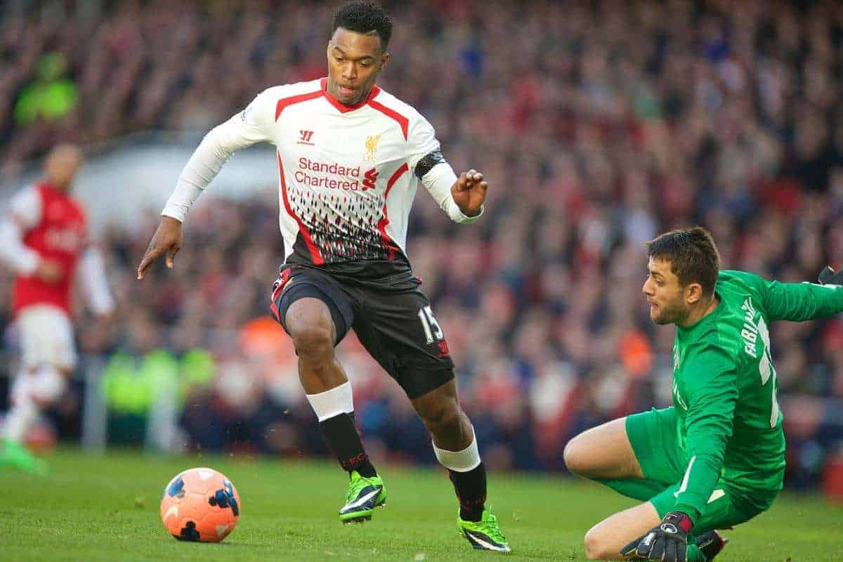LONDON, ENGLAND - Sunday, February 16, 2014: Liverpool's Daniel Sturridge in action against Arsenal during the FA Cup 5th Round match at the Emirates Stadium. (Pic by David Rawcliffe/Propaganda)