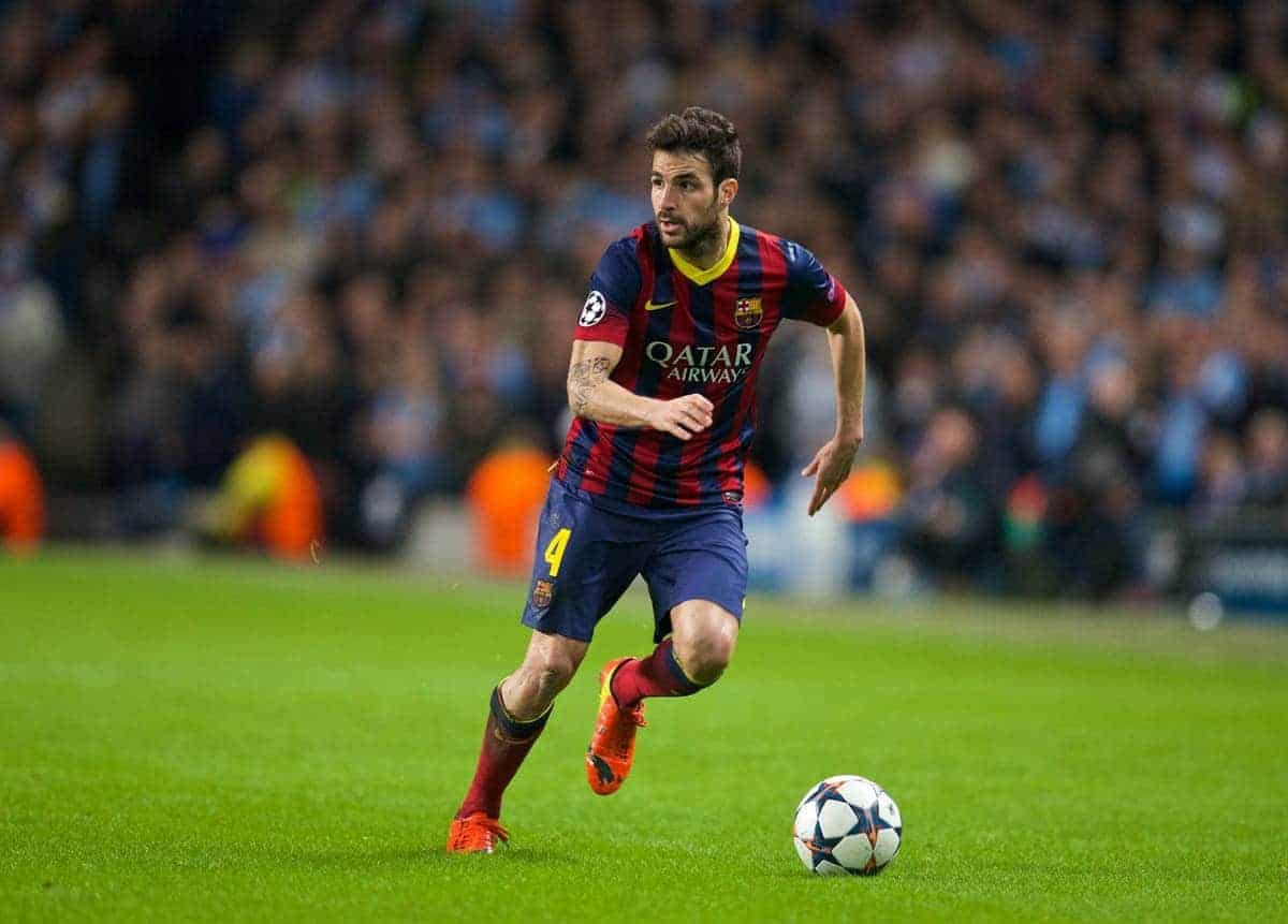 MANCHESTER, ENGLAND - Tuesday, February 18, 2014: FC Barcelona's Cesc Fabregas in action against Manchester City during the UEFA Champions League Round of 16 match at the City of Manchester Stadium. (Pic by David Rawcliffe/Propaganda)
