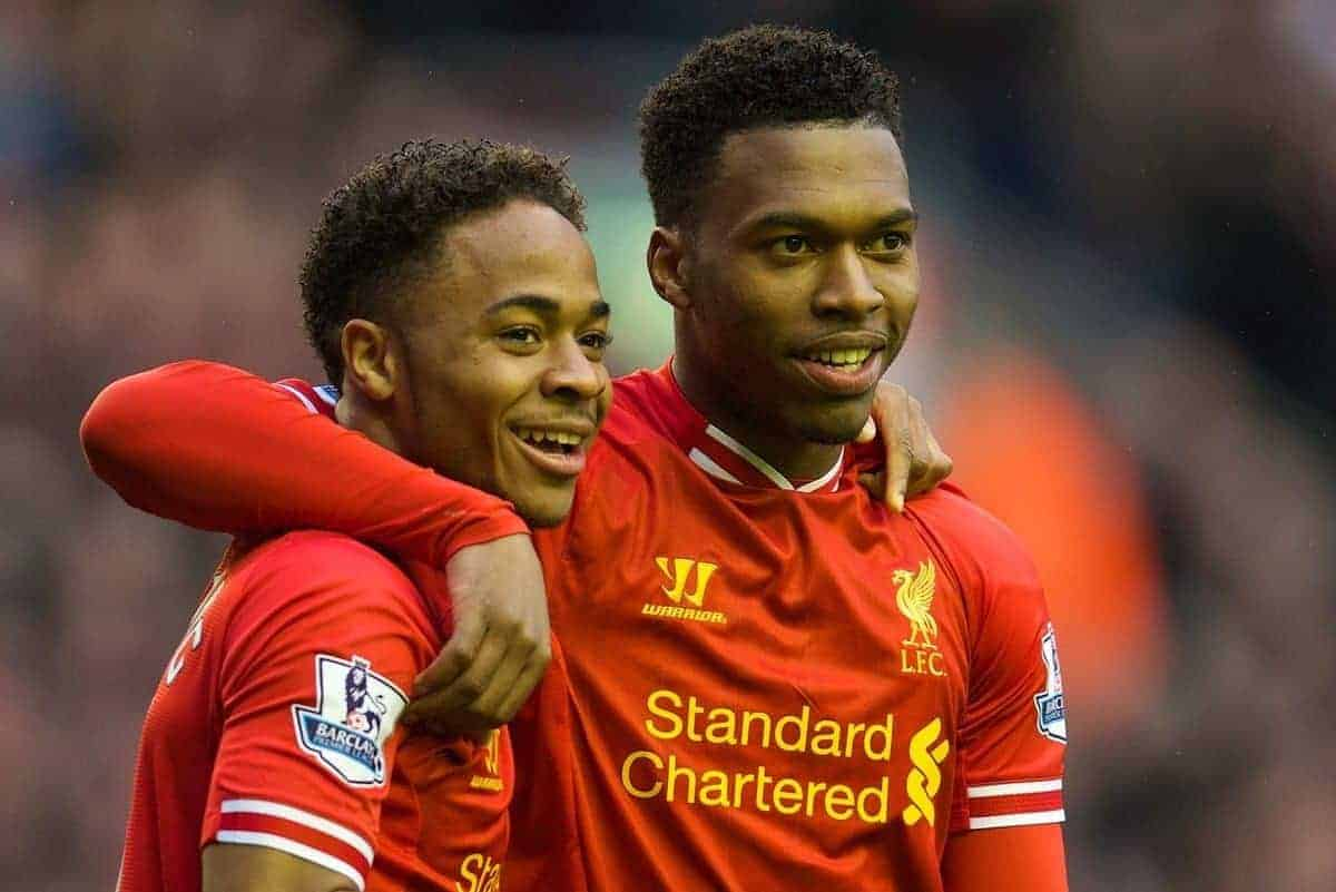 LIVERPOOL, ENGLAND - Sunday, February 23, 2014: Liverpool's Daniel Sturridge celebrates scoring the first goal against Swansea City with team-mate Raheem Sterling during the Premiership match at Anfield. (Pic by David Rawcliffe/Propaganda)