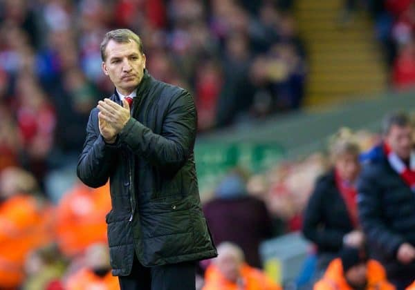 LIVERPOOL, ENGLAND - Sunday, February 23, 2014: Liverpool's manager Brendan Rodgers during the Premiership match against Swansea City at Anfield. (Pic by David Rawcliffe/Propaganda)