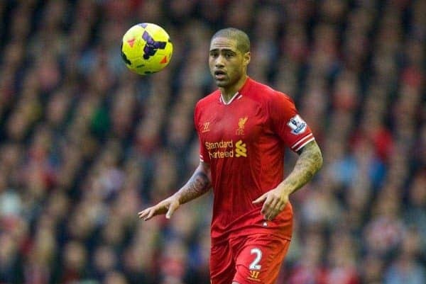 LIVERPOOL, ENGLAND - Sunday, February 23, 2014: Liverpool's Glen Johnson in action against Swansea City during the Premiership match at Anfield. (Pic by David Rawcliffe/Propaganda)