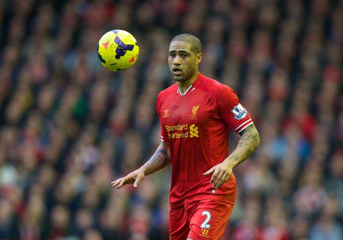 Liverpool's Glen Johnson in action against Swansea City during the Premiership match at Anfield. (Pic by David Rawcliffe/Propaganda)