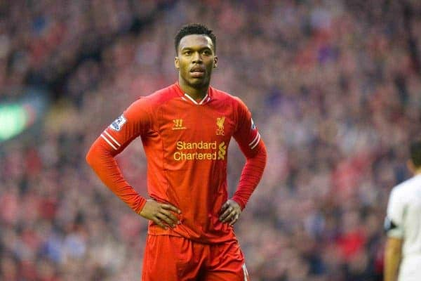 LIVERPOOL, ENGLAND - Sunday, February 23, 2014: Liverpool's Daniel Sturridge in action against Swansea City during the Premiership match at Anfield. (Pic by David Rawcliffe/Propaganda)