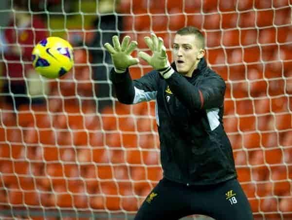 Liverpool's goalkeeper Ryan Fulton warms-up before the FA Youth Cup 5th Round match against Leeds United at Anfield. (Pic by David Rawcliffe/Propaganda)
