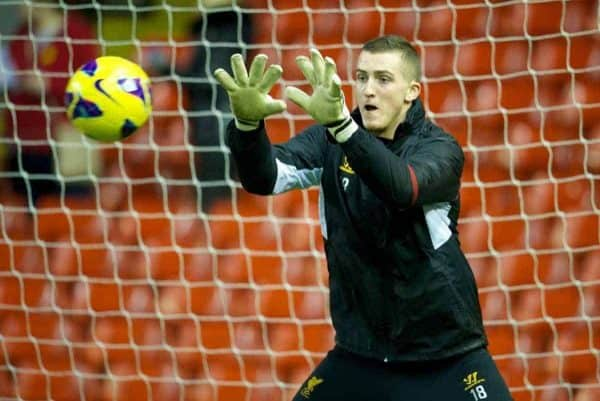 LIVERPOOL, ENGLAND - Thursday, February 28, 2013: Liverpool's goalkeeper Ryan Fulton warms-up before the FA Youth Cup 5th Round match against Leeds United at Anfield. (Pic by David Rawcliffe/Propaganda)