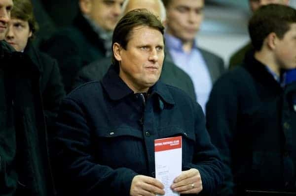 LIVERPOOL, ENGLAND - Thursday, February 28, 2013: Liverpool's assistant manager Colin Pascoe watches the Under-18's in action against Leeds United during the FA Youth Cup 5th Round match at Anfield. (Pic by David Rawcliffe/Propaganda)