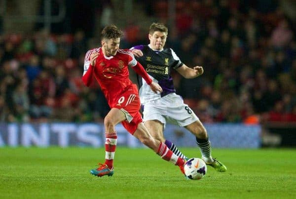 SOUTHAMPTON, ENGLAND - Saturday, March 1, 2014: Liverpool's captain Steven Gerrard in action against Southampton's captain Adam Lallana during the Premiership match at St Mary's Stadium. (Pic by David Rawcliffe/Propaganda)
