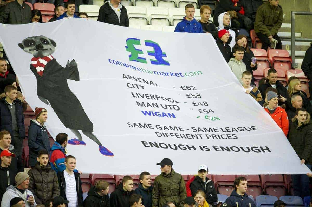 WIGAN, ENGLAND - Saturday, March 2, 2013: Liverpool supporters protest against high ticket prices before the Premiership match against Wigan Athletic at the DW Stadium. (Pic by David Rawcliffe/Propaganda)