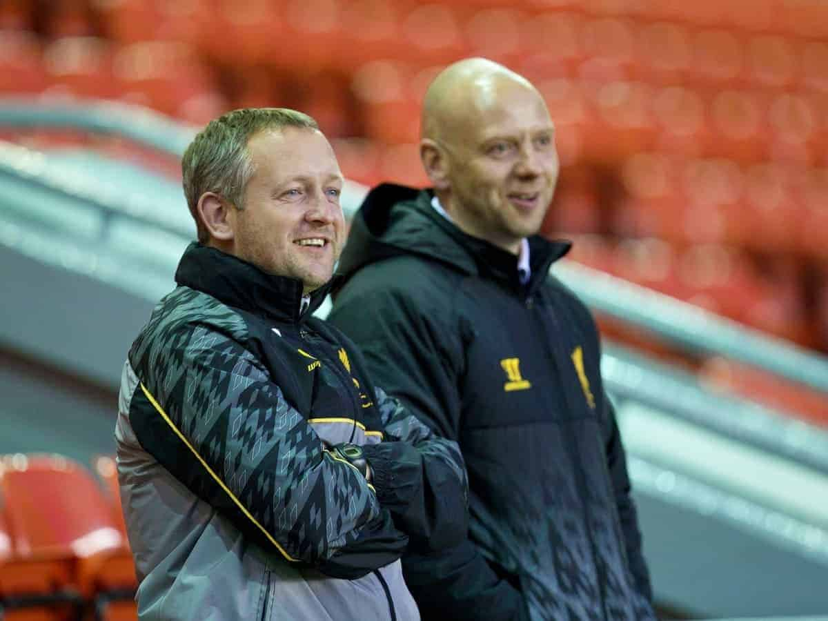 LIVERPOOL, ENGLAND - Friday, March 21, 2014: Liverpool's Under-18's manager Neil Critchley and former Liverpool player Rob Jones, now working with the LFC Academy, before the Under 21 FA Premier League match against Newcastle United at Anfield. (Pic by David Rawcliffe/Propaganda)