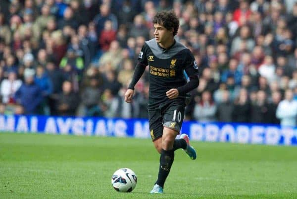 BIRMINGHAM, ENGLAND - Easter Sunday, March 31, 2013: Liverpool's Philippe Coutinho Correia in action against Aston Villa during the Premiership match at Villa Park. (Pic by David Rawcliffe/Propaganda)