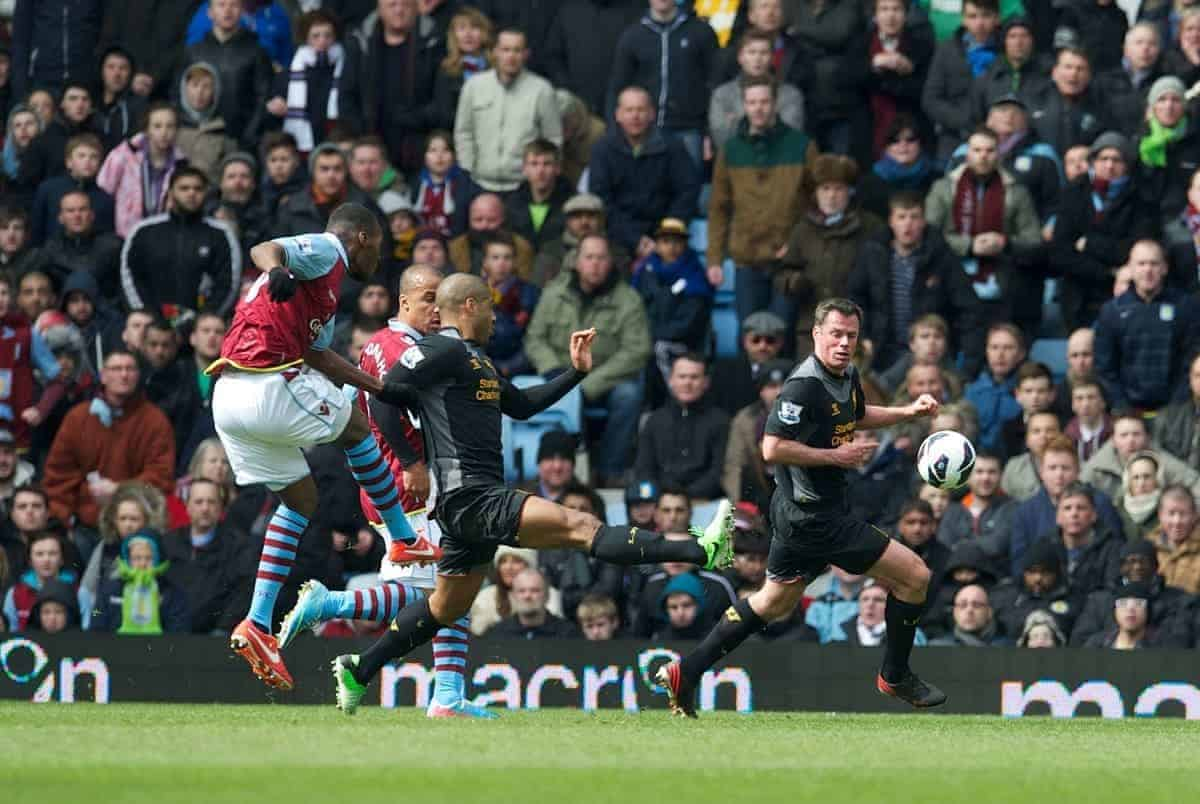 BIRMINGHAM, ENGLAND - Easter Sunday, March 31, 2013: Aston Villa's Christian Benteke scores the first goal against Liverpool during the Premiership match at Villa Park. (Pic by David Rawcliffe/Propaganda)