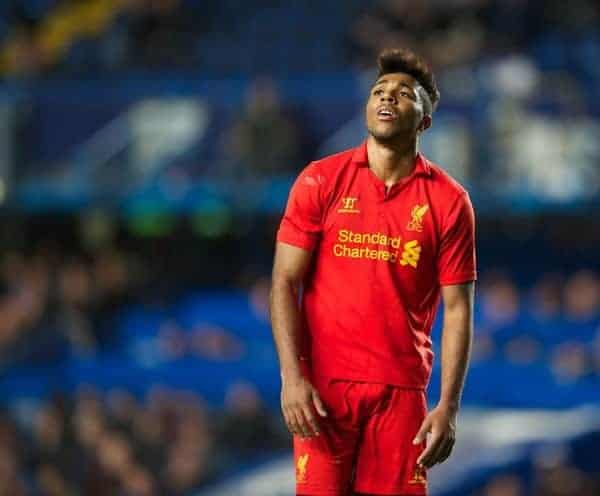 LONDON, ENGLAND - Friday, April 19, 2013: Liverpool's Jerome Sinclair looks dejected after missing a chance against Chelsea during the FA Youth Cup Semi-Final 2nd Leg match at Stamford Bridge. (Pic by David Rawcliffe/Propaganda)