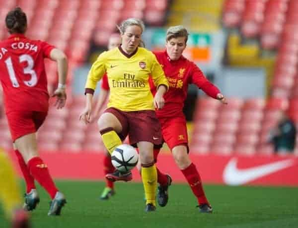 LIVERPOOL, ENGLAND - Friday, April 26, 2013: Liverpool's Katrin Omarsdottir in action against Arsenal's Gemma Davison during the FA Women's Cup Semi-Final match at Anfield. (Pic by David Rawcliffe/Propaganda)