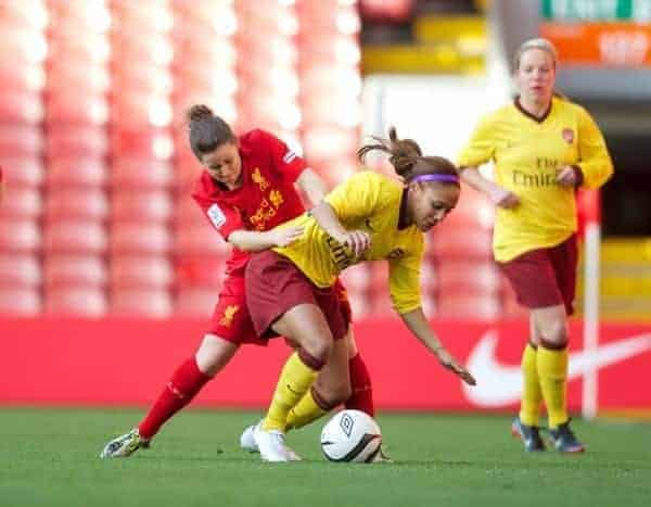 LIVERPOOL, ENGLAND - Friday, April 26, 2013: Liverpool's Nicole Rosler in action against Arsenal's Alex Scott during the FA Women's Cup Semi-Final match at Anfield. (Pic by David Rawcliffe/Propaganda)