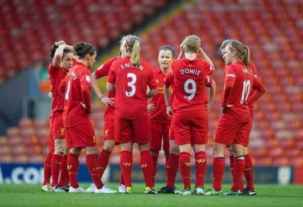 LIVERPOOL, ENGLAND - Friday, April 26, 2013: Liverpool players during the FA Women's Cup Semi-Final match against Arsenal at Anfield. (Pic by David Rawcliffe/Propaganda)