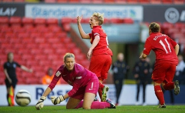 LIVERPOOL, ENGLAND - Friday, April 26, 2013: Liverpool's Natasha Dowie celebrates scoring the first goal against Arsenal to level the score 1-1 in injury time of the first half during the FA Women's Cup Semi-Final match at Anfield. (Pic by David Rawcliffe/Propaganda)