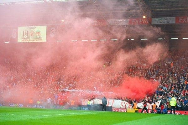 LONDON, ENGLAND - Sunday, May 12, 2013: No Pyro No Party. Liverpool supporters set off red smoke bombs during the Premiership match against Fulham at Craven Cottage. (Pic by David Rawcliffe/Propaganda)