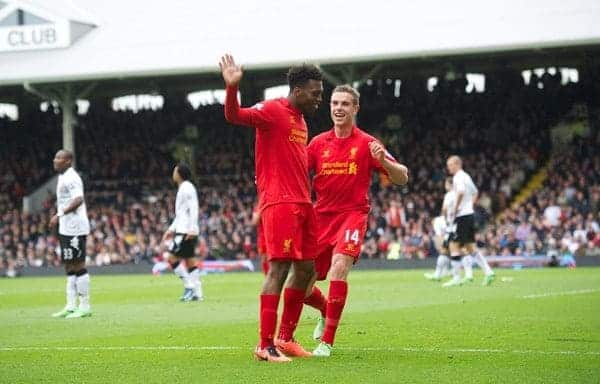LONDON, ENGLAND - Sunday, May 12, 2013: Liverpool's Daniel Sturridge celebrates scoring the second goal of his hat-trick against Fulham with team-mate Jordan Henderson during the Premiership match at Craven Cottage. (Pic by David Rawcliffe/Propaganda)