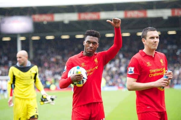 Liverpool's hat-trick hero Daniel Sturridge with the match-ball after his three goals helped the Reds come from behind to beat Fulham 3-1 during the Premiership match at Craven Cottage. (Pic by David Rawcliffe/Propaganda)