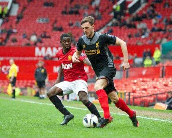 MANCHESTER, ENGLAND - Tuesday, May 14, 2013: Liverpool's Jack Robinson in action against Manchester United during the Premier League Academy Elite Group Semi-Final match at Old Trafford. (Pic by David Rawcliffe/Propaganda)
