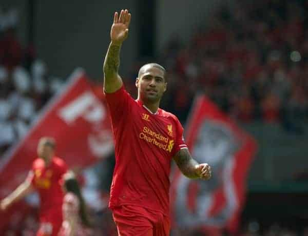 LIVERPOOL, ENGLAND - Sunday, May 19, 2013: Liverpool's Glen Johnson during the final Premiership match of the 2012/13 season against Queens Park Rangers at Anfield. (Pic by David Rawcliffe/Propaganda)