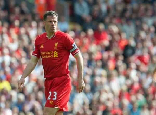 LIVERPOOL, ENGLAND - Sunday, May 19, 2013: Liverpool's captain Jamie Carragher making his 737th and last appearance for Liverpool during the final Premiership match of the 2012/13 season against Queens Park Rangers at Anfield. (Pic by David Rawcliffe/Propaganda)